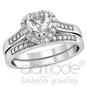 Size 6 Heart Solitaire w/ Accents CZ Engagement & Wedding 2 Ring Set