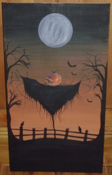 Primitive Halloween Sign Sleepy Hollow Decorations Headless Horseman Scarecrow