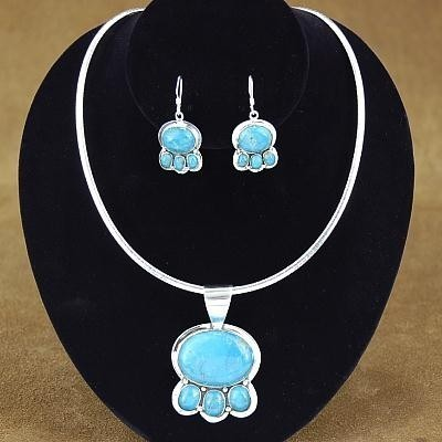 Turquoise Sterling Silver Pendant Necklace  Earring Set