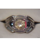18KT HGF Mens Ring 2 Faux Sapphires & Clear Sto... - $39.55