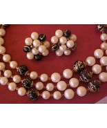 Neat Japan 1950's Art Bead Necklace & Earrings ... - $12.00