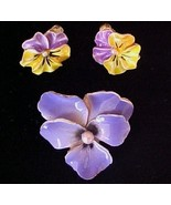 Vintage Colorful  Purple Enameled Pansy Pin & C... - $14.00