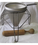Cone Sieve/Colander/Strainer/Masher/Food Mill with Tripod Stand and Wood Pestle  - $50.00