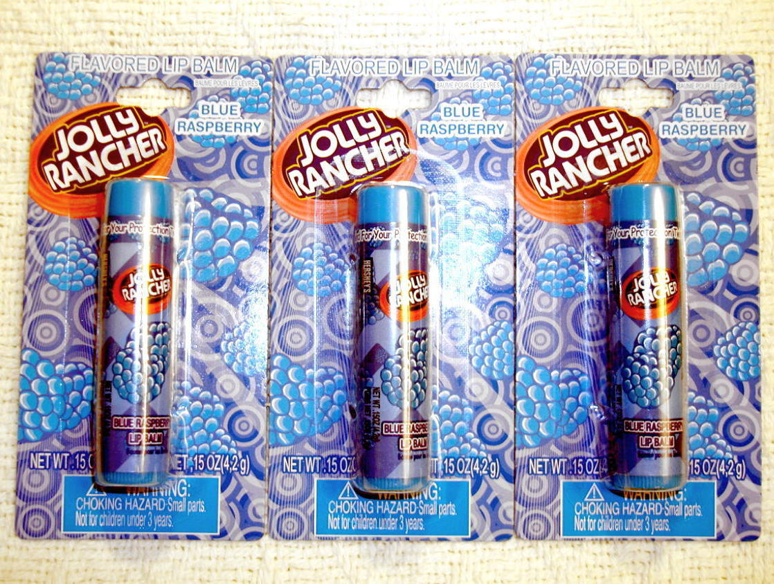 Jolly Rancher Candy Flavored Lip Balm Blue Raspberry 3 Pack Sealed