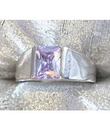 Art Moderne 90s Orchid Cut Glass Silvertone Ring - $9.50