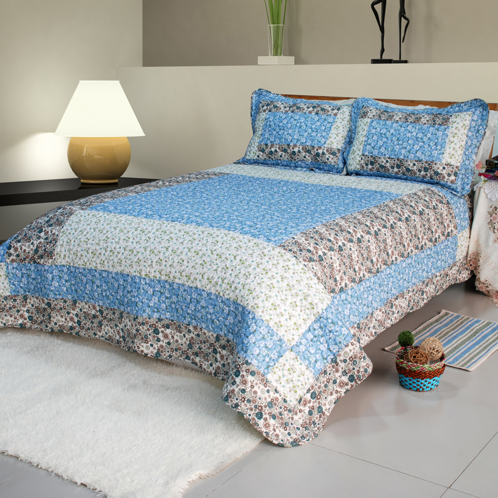 [Midsummer Dream]100% Cotton 3PC Patchwork Quilt Set (King)