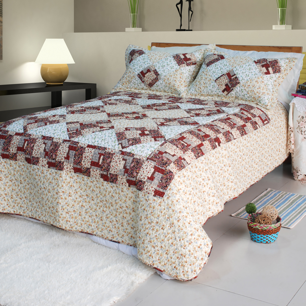 [Fantasy Flowers]100% Cotton 3PC Quilt Set (Full/Queen)