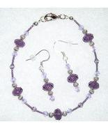 Purple Crystal Glass Bead Bracelet Earring Jewe... - $12.00