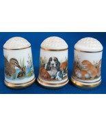 Bone China Animal Thimbles Cats Dogs and Ducks Franklin Porcelain - $14.00