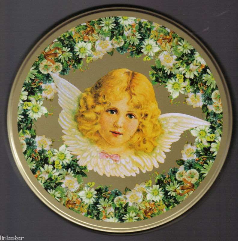 VICTORIAN GIRL ANGEL   FLOWERS candy cookie GOLD TIN