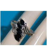 Sterling Silver Midnight Blue Sapphire Marquise... - $29.97