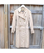 Vintage Burberry Raincoat Double Breasted Trench Coat Khaki w Plaid Lining Small