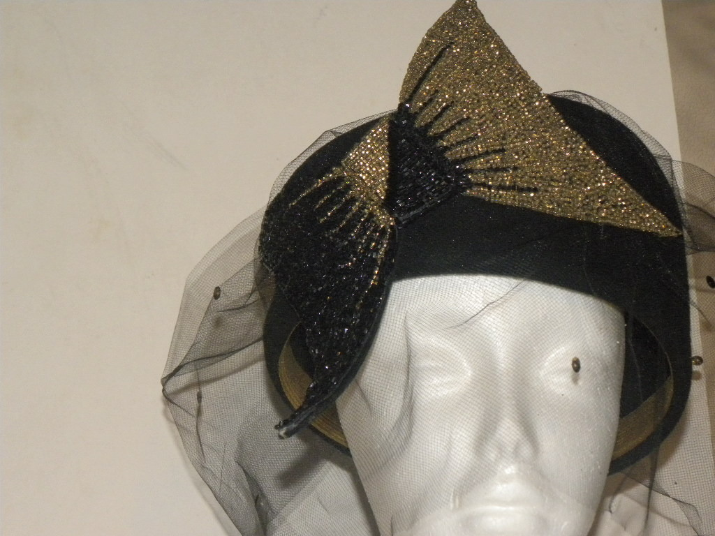 Ladies Hat Black Wool Veil Bow Sequins Rine Chapeaux New Orleans