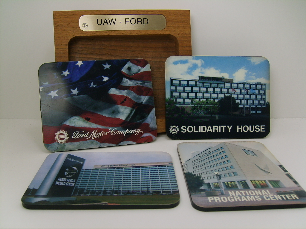 UAW - FORD Motor Co. 4 Coaster Set
