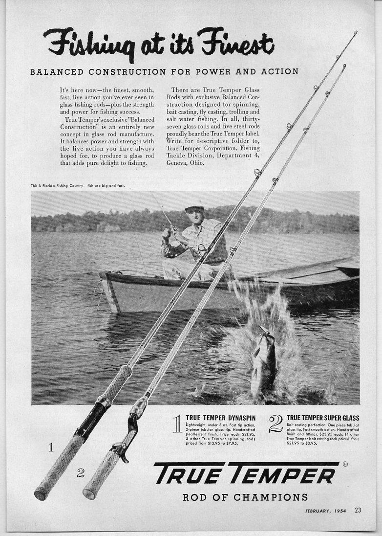 1954 Vintage Ad True Temper Fishing Rods Florida Fisherman