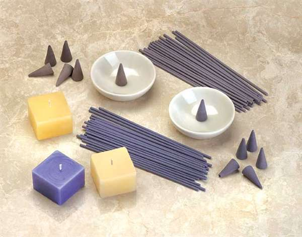 Incense Sticks Cones Candles Holder Tray Sandalwood Violet Scented with Gift Box