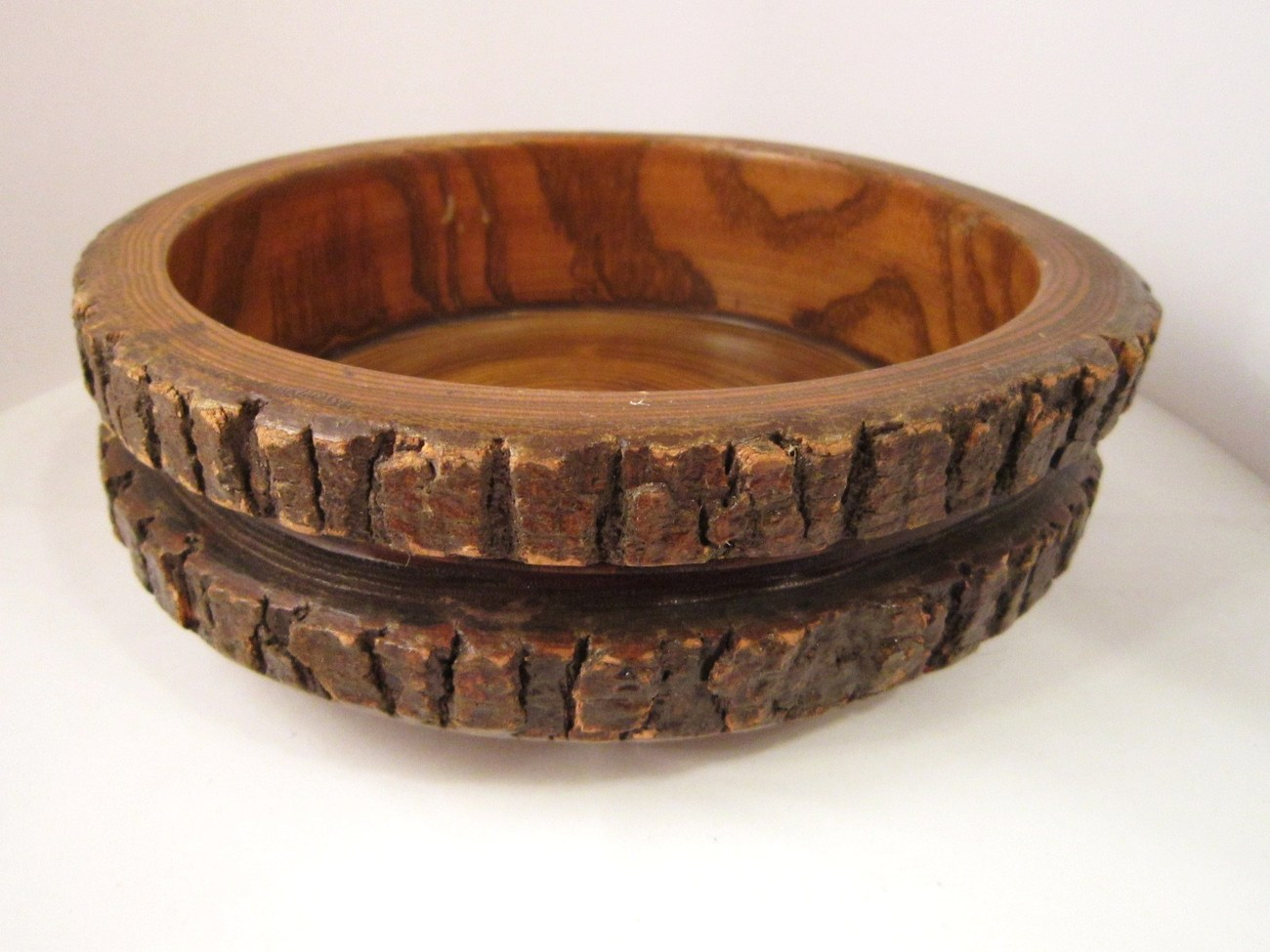 Rustic Wooden Stump Bowl  Natural Bark  Fine Grain  9 inches across