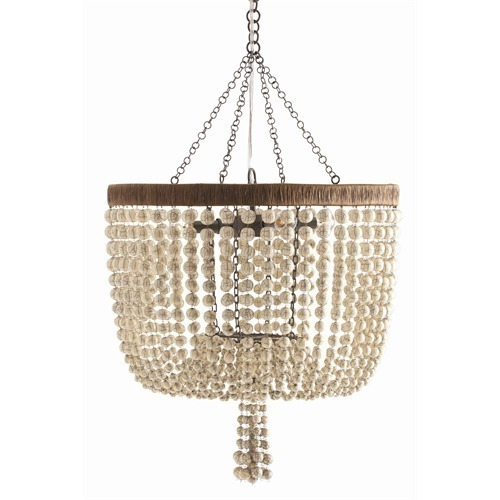 BEADED 4 Light Pendant Chandelier, Antique Brass Wire, FRENCH INDUSTRIAL CHIC