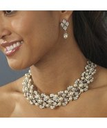 NWT Pearl and Rhinestone Bridal Necklace and Ea... - $78.99