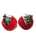 Vintage Red Lucite Silver Flowers Leaf Huge Cl... - $24.00