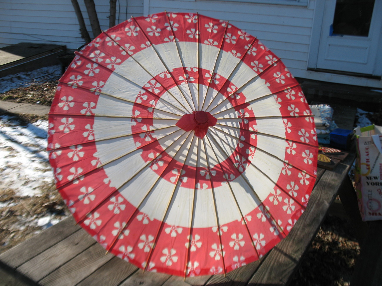 Vintage Oriental Chinese Japanese Parasol Umbrella Red Rice Paper Bamboo Asian