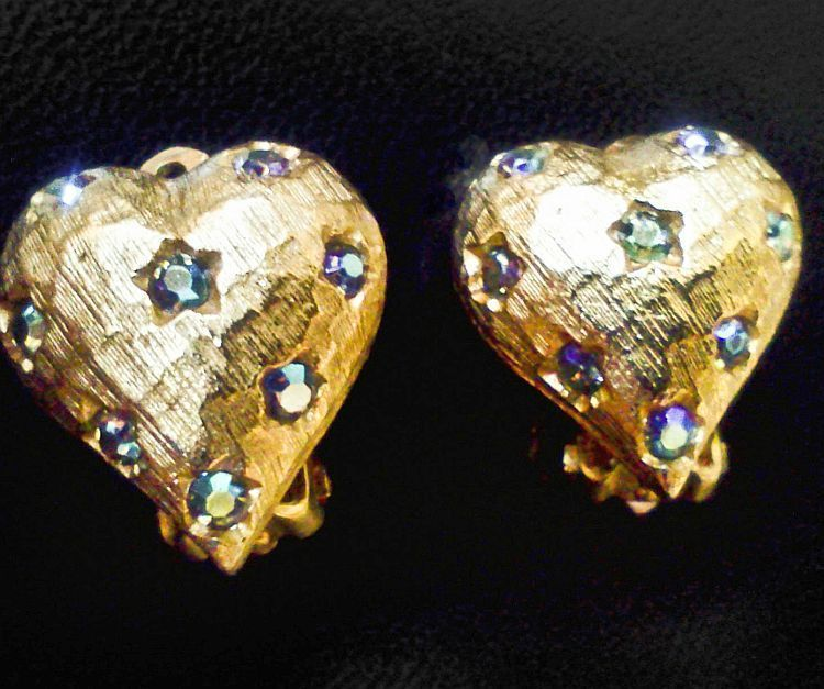Weiss Clip Earrings Brilliant Textured Gold Tone With Aurora Borealis