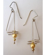 Sterling Silver Wire Gold Bead Earrings Unique ... - $52.00