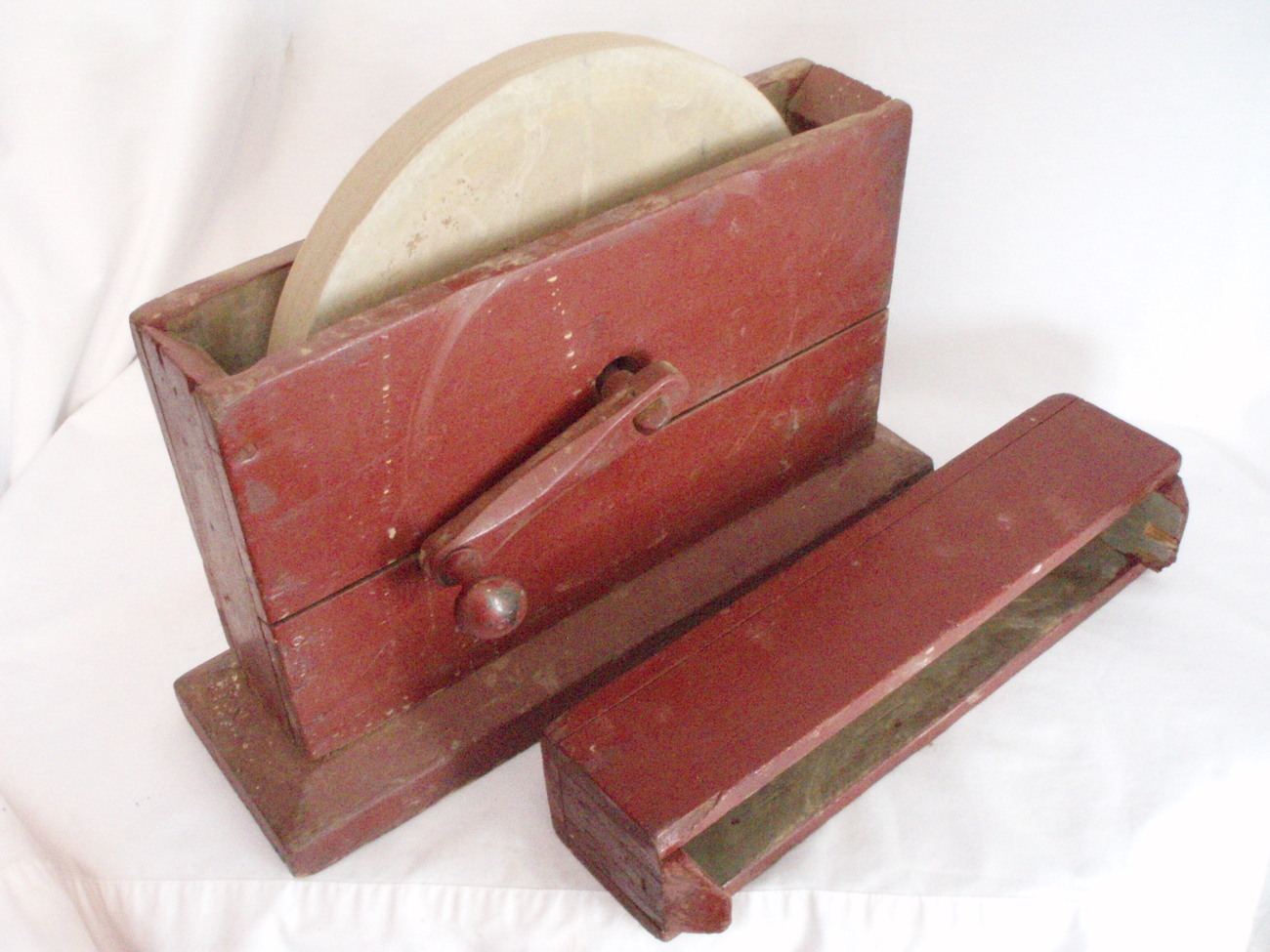 Image 0 of Primitive Grindstone hand cranked wood box Antique Tool