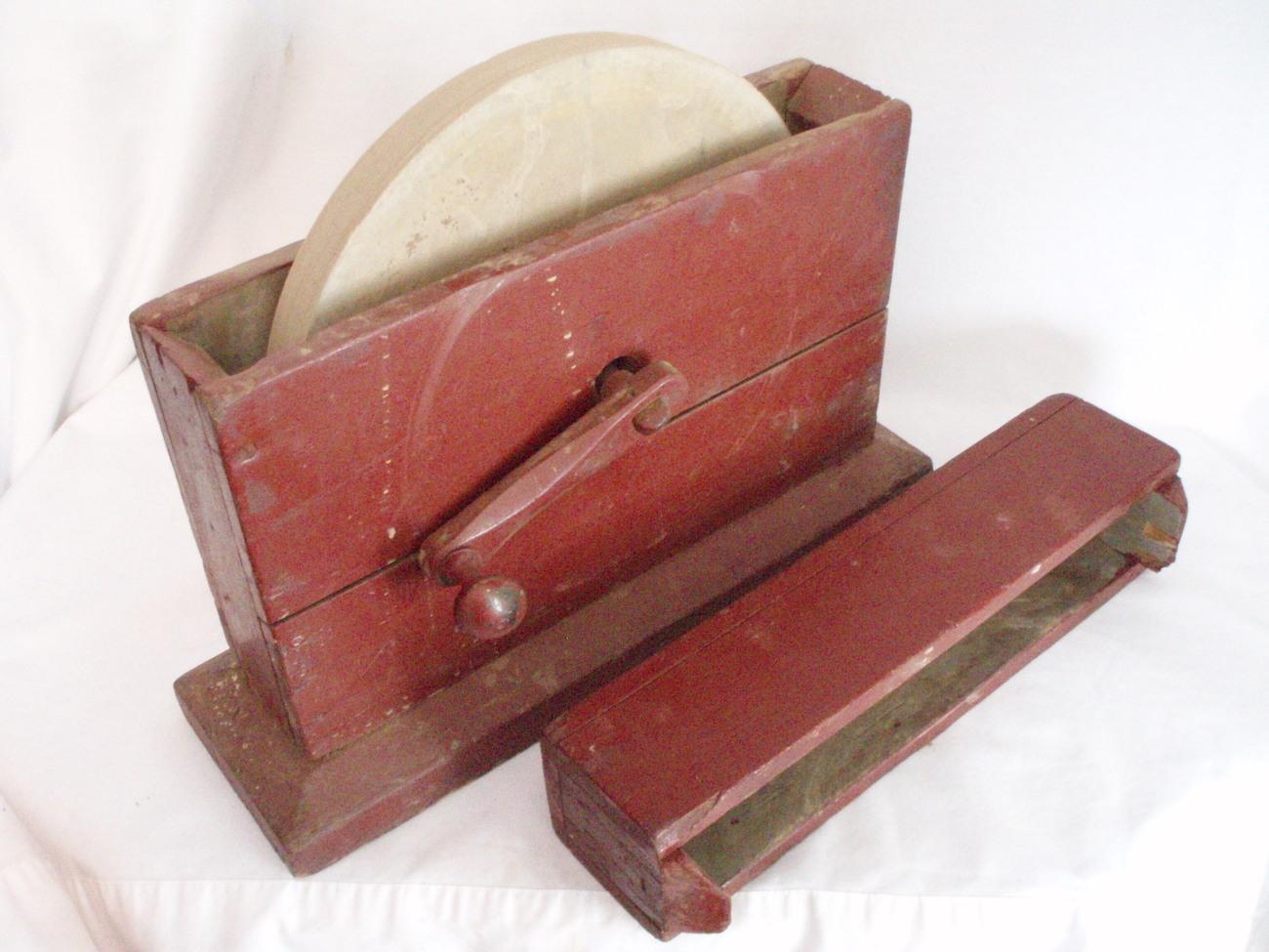 Image 0 of Primitive Grindstone hand cranked wood box Antique Tool