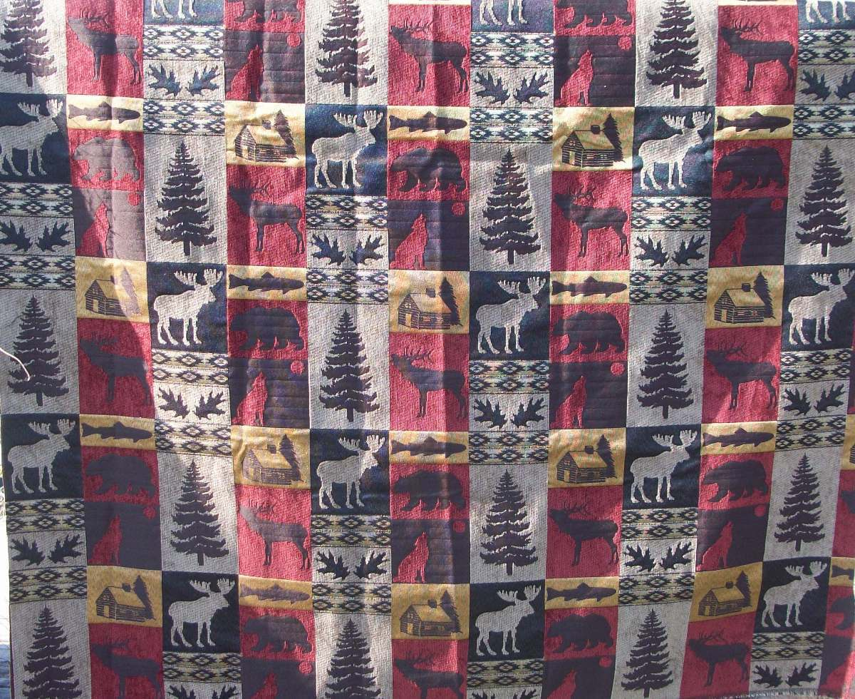 Moose And Bear Fabric http://www.bonanza.com/listings/Fairbanks-Red-Upholstery-and-Tapestry-Fabric-Moose-Bear-Wolf-Fish-Log-Cabin-BTY/112574631