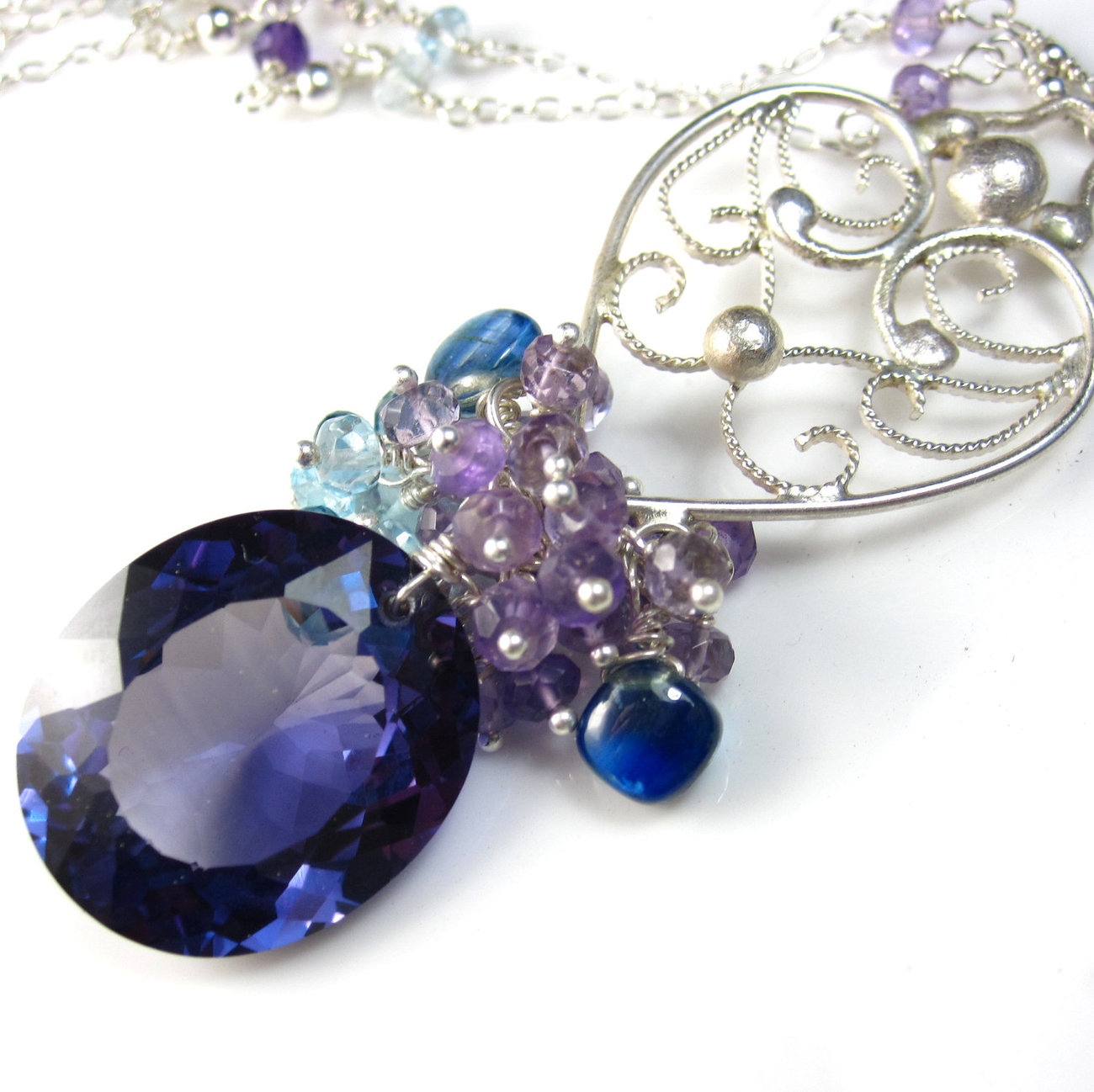Purple Midnight Necklace   Alexandrite  Gemstone   Sterling Silver