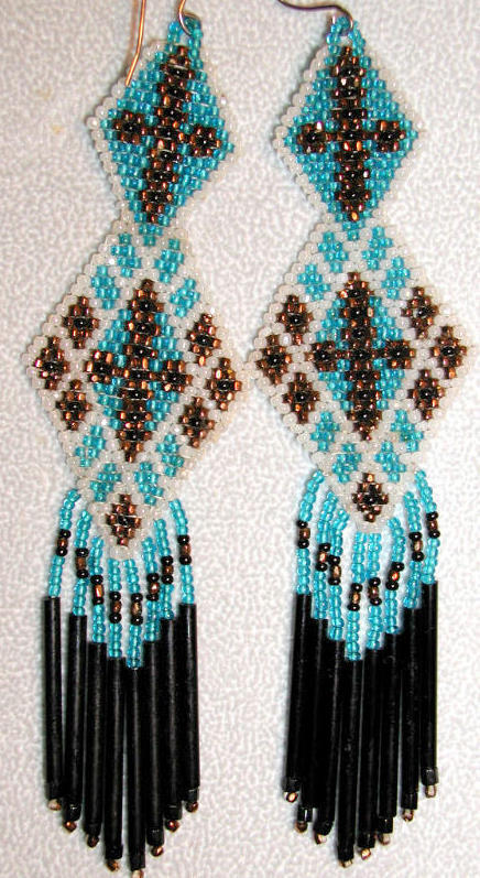 Celtic Pride long beadwoven earrings pearl color, brass and blue  ~Robin~