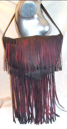 Leather Fringed Purse,Red and Black Distressed Hobo Bag