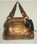 MARC JACOBS HANDBAG BRONZE METALLIC LEATHER VIVA LA VAL BOWLER SATCHEL NWT $398