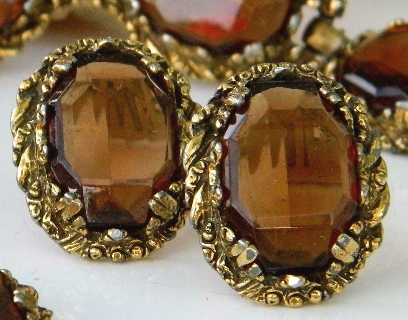 Vintage_quartz_brown_earrings_bracelet_set