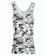 Medium Black Camouflage Tank Top Womens Sleevel... - $8.99