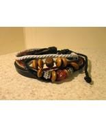 Bracelet Men Women Unisex Black Leather Wooden ... - $9.99