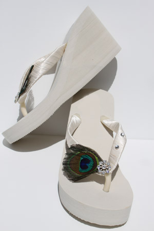 Ivory Wedge Bridal Flip Flop Sandals Peacock Feather and Crystals