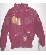 New Ladies Suede bomber jacket Burgundy Gold Av... - $39.95