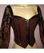Sexy Peasant Vest Corset Look Top L/S Red S