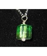 Dirty Translucent Green Cube Pendant - Unique G... - $3.50