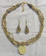 Glass Beaded Jewelry Set OOAK Ceramic Green & P... - $20.00