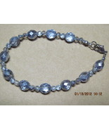 Handmade Czech crystal metallic periwinkle blue and silvery bracelet