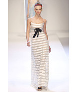 VALENTINO Ivory Striped Formal Gown Dress 2 $13... - $1,500.00