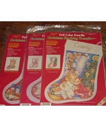 Lot 3 Different Color Christmas Stocking Transf... - $8.99