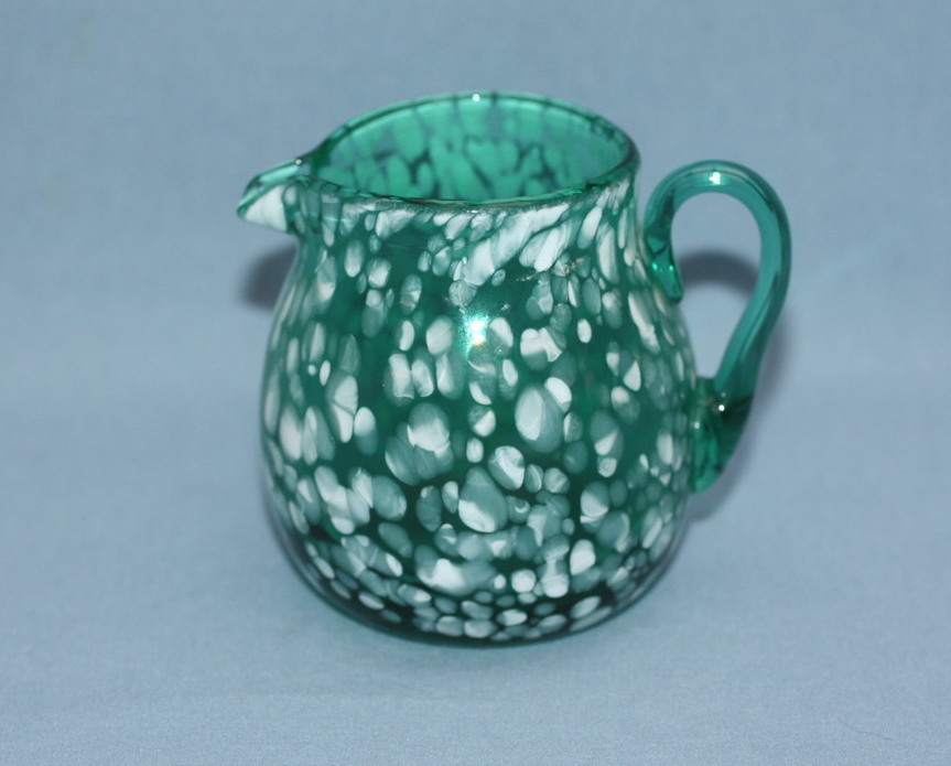 Small Vintage Mottled Blown Glass Pitcher / Vase