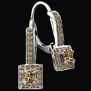 3.50 ct. brown pave diamonds earrings hoop earring