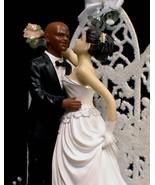 Black BALD Groom  PICK your Bride WEDDING cake Topper - $53.25