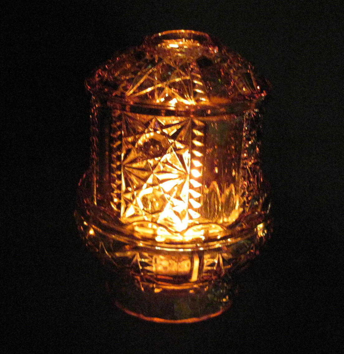 Home Interiors Amber Fairy Lamp Candle Holder Star Diamond Cut Lantern Candle Holders