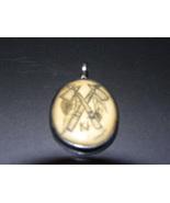 Vintage Pendant Silver Bone Scrimshaw Native Ax... - $15.00